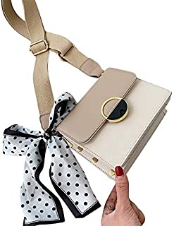TOOGOO Contrast Color Leather Crossbody Bag PU Leather Women's Handbag Lock Shoulder Messenger Bag Yellow