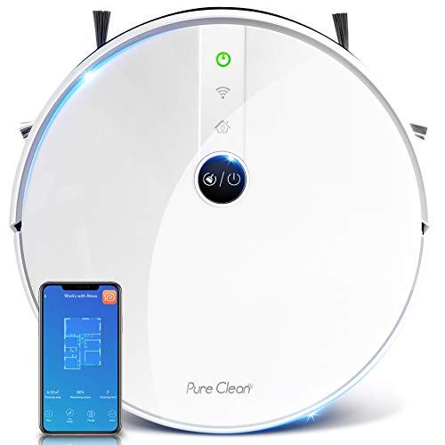 """SereneLife Robotic Vacuum Cleaner - 1800Pa Suction - WiFi Mobile App and Gyroscope Mapping - Ultra Thin 2.9"""" Height Cleans Carpets and Hardwood Floor - PUCRC455, White"""