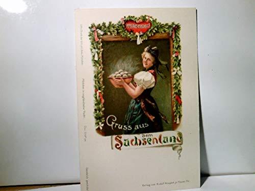 Gruss aus dem Sachsenland. Mädchen in vogtländischer Tracht. Alte Lithographie / AK farbig, ca 1900 ungel.