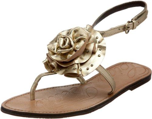 Ciao Bella Flache Damen-Sandale mit Charm-Anhänger, Silber (Platin), 38.5 EU