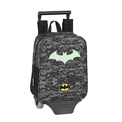 Batman Trolley, Children's School Bag, Boys Trolley Backpack, Kids Luggage Travel Cabin Bag, Fluorescent Fun Glow in The Dark Design, Wheeled Backpack, Kids Trolley, Gift for Boys!