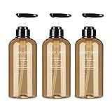 Yeahb 3 Piezas Botella De Bomba De Locion Botellas Recargables Gel Ducha Durable Botellas Vacías De Plástico para Champú, Lociones, Jabón De Manos (300ML)