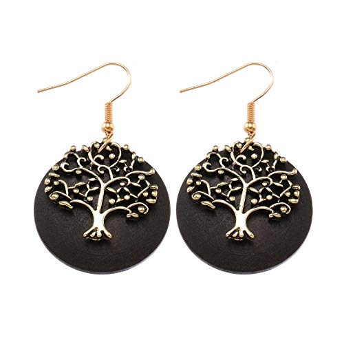 SALAN Big Round Wood African Alloy Tree Black Wood Drop Earrings Ethnic Dangle Hanging Boho Pendant Earrings For Women Jewelry