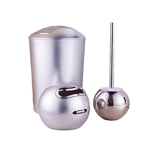Brosse de toilette créative de salle de bain avec couvercle sac à déchets corbeille en trois pièces nettoyage de salle de bain en plastique en acier inoxydable (argent)