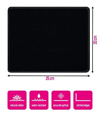 Silent Monsters Mauspad Größe S (250 x 200 mm) Stoff Mousepad klein, Design: Schwarz, Vernähter Rand, geeignet für Büro und Gaming Maus