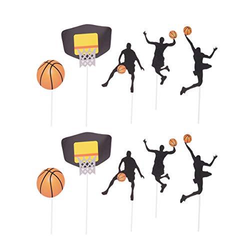 UPKOCH 25 Stücke Basketball Thema Kuchen Topper Glitzer Cupcake Picks Tortenstecker Kuchendeko für Kinder Junge Geburtstag Sport Festival Party Deko
