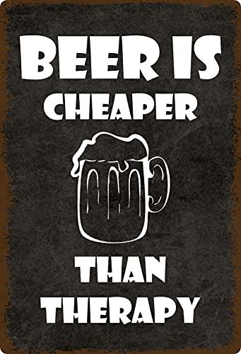 generisch Cartel de Chapa 20 x 30 cm Beer is Cheaper Than Therapy Metal Cartel