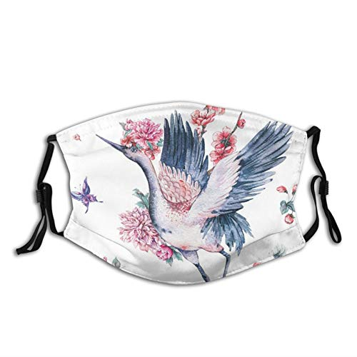 ETHAICO Watercolor Asian Red Crown Bird Blooming Branches of Cherry Blossom Tree and Peonies,Reusable Face Mask Balaclava Washable Outdoor Nose Mouth Cover for Men and Women