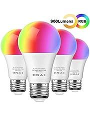 مصباح Aoycocr LED RGB الذكي (4 حزم) (220 فولت) - 10 وات A21 E26 أبيض ناعم (2700 كم) متعدد الألوان - 900 شمعة (مكافئ 85 وات) - متوافق مع مساعد أمازون أليكسا وجوجل ، لا يلزم محول
