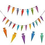 Oblique Unique Schulanfang Zuckertüten Girlande - Schuleinführung Girlande - Zuckertüte Kinder Schüler Zuckertüten Fest Dekoration - Wunderschöne farbenfrohe Girlande zur Schuleinführung