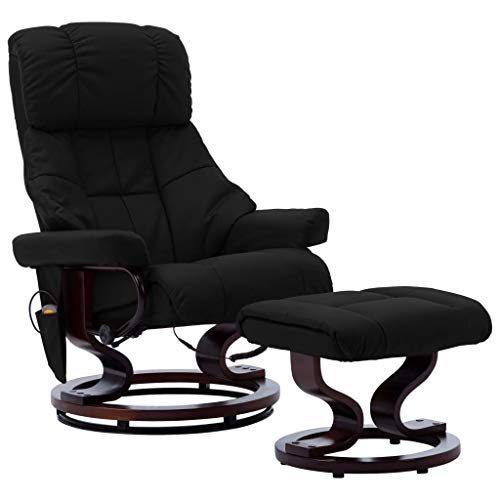 vidaXL Bugholz Massagesessel mit Fußhocker Heizfunktion Relaxsessel Fernsehsessel TV Sessel Relaxliege Liegesessel Ruhesessel Schwarz Kunstleder