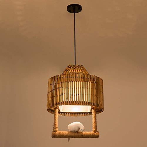 NZDY Diseño Retro Tejido de Bambú Lámpara Colgante Iluminación Colgante Pantalla Resina Creativa E27 Base Tejido a Mano Luces de Suspensión para Bar Café Cocina Restaurante Hogar Comedor Decoración L