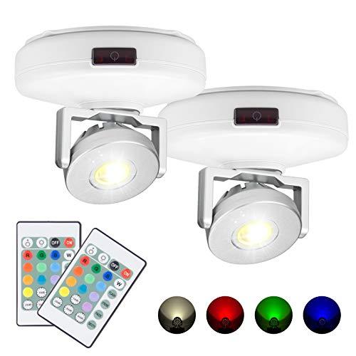 HONWELL Faretto LED Plafoniere senza fili alimentate a batteria Telecomando 12 colori che cambiano luce d'accento Luce dimmerabile a disco con luci girevoli Testa per freccette, bianco,confezione da 2