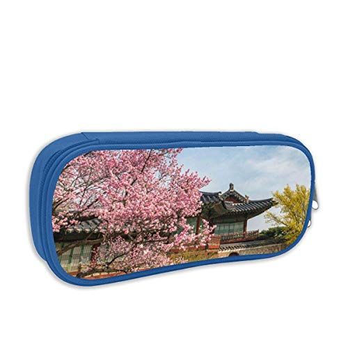 QiangQ Cherry Blossoms School Print Stationery Pouch Bag with Zipper