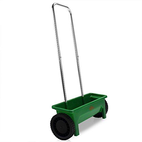 Deuba | Épandeur • 12L pour semence, engrais, sel et sable • réglable • avec roues | Jardin, gazon, extérieur