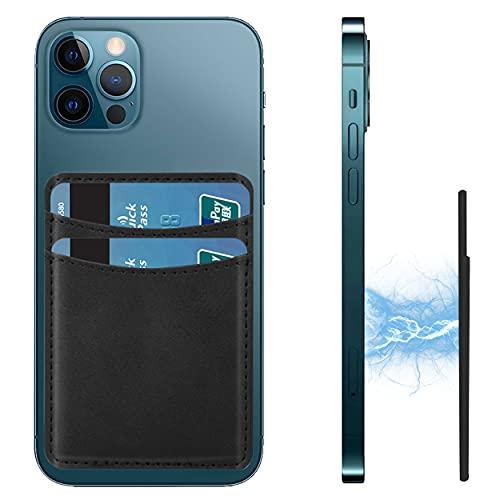 N\C Compatible con cartera Magsafe iPhone 12 Pro Max, soporte de tarjeta súper magnético para iPhone 12/Pro/Max/Mini/Magsafe funda de teléfono, 2 bolsillos con capacidad para 4 tarjetas (negro)