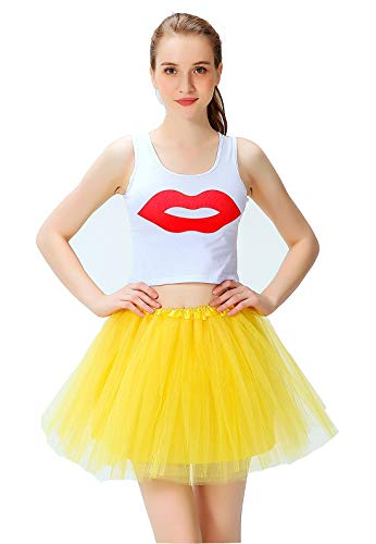 Women's Athletic Tutus Elastic 4 Layered Tulle Tutu Skirt | Colorful Running Skirts | One Size Fits Most (Yellow)