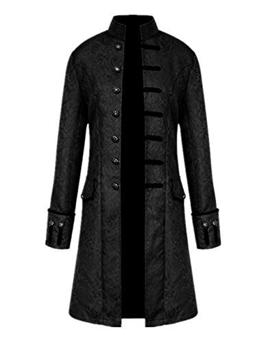 Tinyones Men's Steampunk Vintage Tailcoat Jacket Gothic Victorian Frock Coat Uniform Halloween Costume (XXL, black)