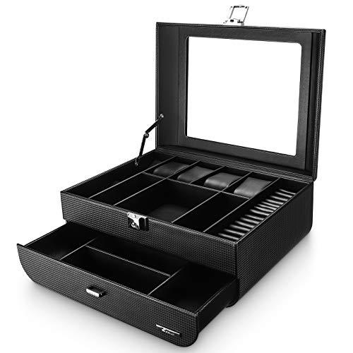 Seelux Uhrenbox Herren Uhren Aufbewahrungsbox mit Glasdeckel, abschließbar Schmuckkästchen Uhrenkoffer für 4 Uhren und Schmuck Ringe Broschen Brille, Kunstleder, Schwarz