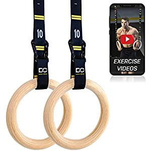 Double Circle Wood Gymnastic Rings, Numbered Straps and Exercise Videos Guide for CrossFit, Bodyweight Training, and Gym