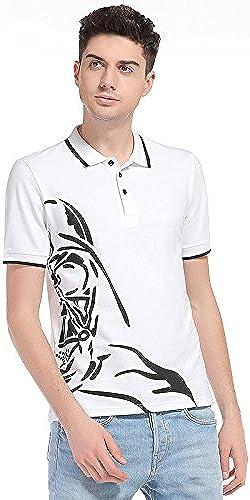 NING456 Manches Courtes à Revers Code   big T-Shirt Hommes   Blanc Noir   Coton été