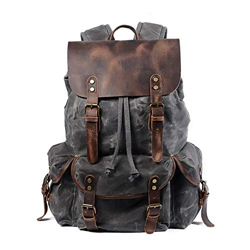 Zek Crazy Horse Leather Canvas Backpack, Large-Capacity Outdoor Travel Bag, Leather Hardware, 15.6in Laptop, Travel/Climbing/School, Gray-Green