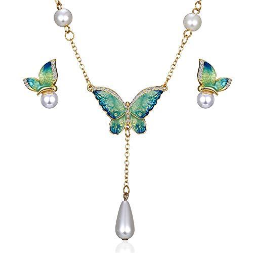 AILUOR de las Mujeres Encanto de la Manera Cristal Plateado del Oro del Rhinestone de la Perla de imitación del Descenso del Agua de la Mariposa Colgante de Collar Pendientes de S1 Ajustable