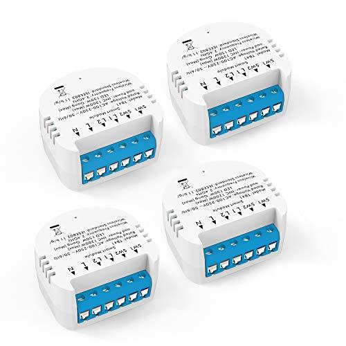 Módulo de interruptor de luz WiFi inteligente Alexa Echo WiFi Smart Home LED Smart Life / Tuya App y mando a distancia inalámbrico, compatible con Alexa Echo, Google Home, IFTTT, no requiere hub