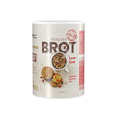 Minutenbrot Lower Carb Brotbackmischung | 3·2·1 Brot ist fertig | 480g für 6 Brote á ca. 140g: Kohlehydratarm, Proteinreich, Laktosefrei und Vegan für optimale Fitness