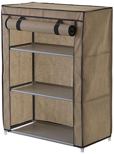Compactor Zapatero 3 balda. Con funda, Color Marrón, Fabricado en polipropileno, Tamaño 60 x 29 x 79.5 cm, Capacidad para 9 pares, RAN6959