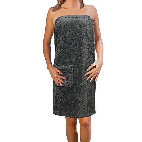 JEMIDI sauna badstof kilt Sarong M-XXL dames of heren antraciet grijs met borduurwerk 100% katoen saunakilt saunasarong saunahanddoek M-XXL Dames antraciet zonder borduurwerk