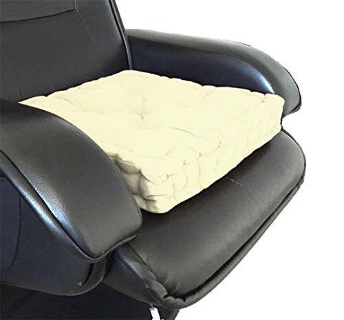 Plain Adult Chunky Garden Dining Chair Armchair Booster Cushion Thick Seat Pad, Cream - Mountain Moose Co.
