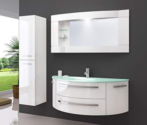 Oimex Cote Azur 120 cm Badmöbel mit LED Spiegelschrank und 1 Seitenschrank Hochglanz Weiß Badezimmer Set mit viel Stauraum Waschtisch Unterschrank Glas Waschbecken