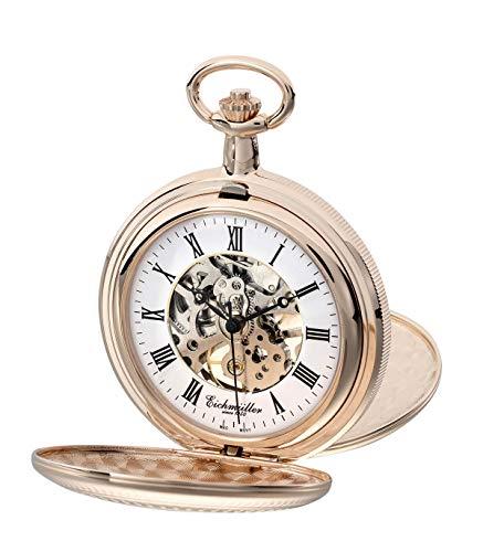 Eichmüller Since 1950 8214-02 - Reloj de bolsillo mecánico, cuerda manual, esqueleto, incluye cadena