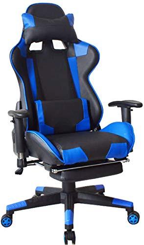 Bureaustoel/gamingstoel met voetensteun High Premium Design Thomas - zwart/blauw