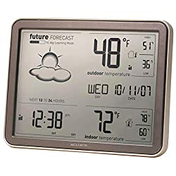 AcuRite 75077A3M Self-Learning Forecast Wireless Weather Station with Large Display and Atomic Clock, Brown, Rose Gold