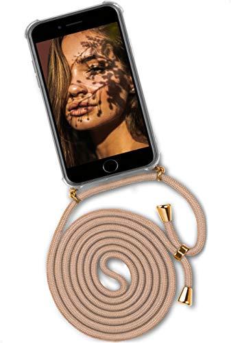 ONEFLOW Handykette 'Twist Hülle' Kompatibel mit iPhone 7 / iPhone 8 - Hülle mit Band abnehmbar Smartphone Necklace, Silikon Handyhülle zum Umhängen Kette wechselbar - Gold Beige