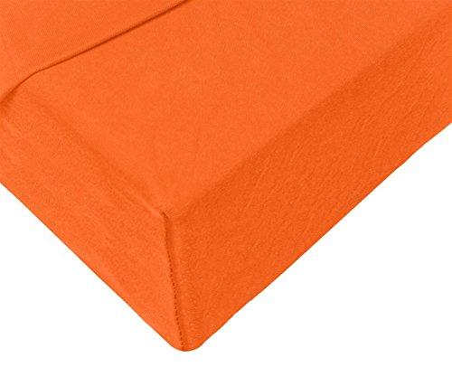 Double Jersey – Spannbettlaken 100% Baumwolle Jersey-Stretch bettlaken, Ultra Weich und Bügelfrei mit bis zu 30cm Stehghöhe, 160x200x30 Orange - 4