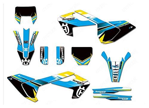 Wjyfexble Pegatinas de gráficos de Motocicletas Calcomanías Kits para Husqvarna Te Fe TC FC TX FX 125 250 300 350 450 501 2016-2019 WYJHN (Color : Green)
