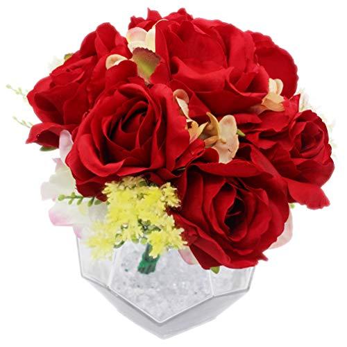 Lumiphire Kunstbloemen met Vaas Woonaccessoire Decoratie voor Woonkamer en Eetkamer Indoor Ornamenten Geschenken voor Haar Valentijnsdag Moederdag Verjaardag Dank Je Rozen 24cm Rood