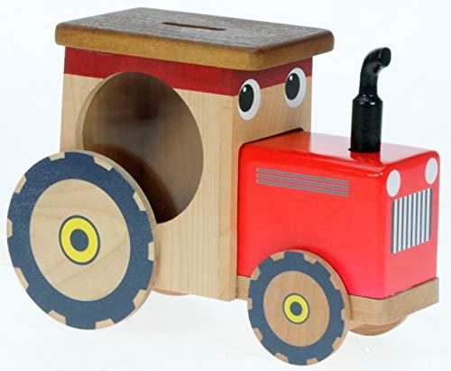 Namesakes Rote Traktor-Spardose für Kinder: Holzschweinchen für Kinder Jungen: Neuheit Secret Lock! (Größe 17 x 12 x 6cm)