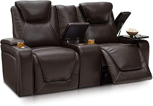 Seatcraft Vienna Home Theater Seating - Top Grain Leather - Power Recline - Power Headrest - Powered Lumbar - USB Charging - Cup Holders - (Loveseat with Storage Console, Black)