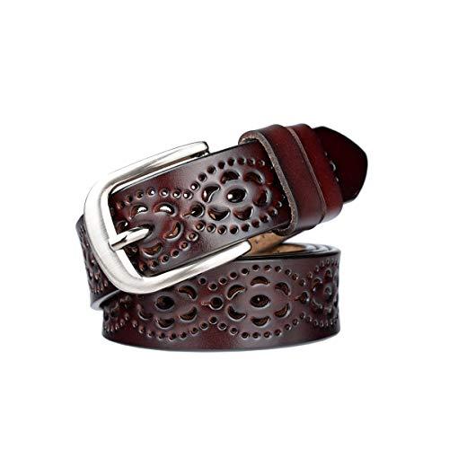 Lalafancy Cinturón de las mujeres de cuero genuino del zurriago de la vendimia Moda diseño floral hueco Cinturón de las señoras con hebilla de aleación para los pantalones vaqueros (Café oscuro)