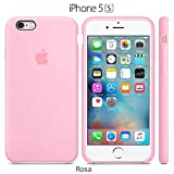 Funda Silicona para iPhone 5, 5s, SE Silicone Case, Logo Manzana, Textura Suave, Forro Microfibra (Rosa)