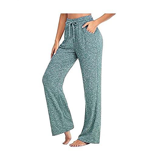 MLLM Elástico Pretina Pantalones Bombachos,Pantalones de Yoga Casuales Sueltos, Pantalones Largos Trenzados-Verde_L,Leggings de Yoga Ultra Suaves y cómodos