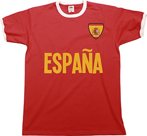 buzz shirts Mens Espana Spain Name Ringer Retro T-Shirt Camiseta para Hombre Sports Football Patriotic