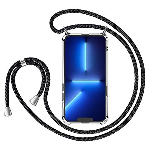Riisoyu Funda con Cuerda Compatible con iPhone 13 Pro (6,7  ), Carcasa Transparente con Colgante Ajustable Collar, Silicona Case Cover Anti-Choque con Correa, Suave TPU Caso con Cordón