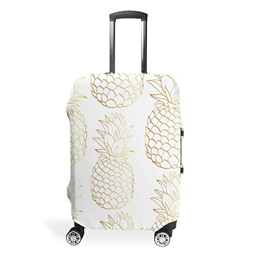 Zhcon Luggage Cover Washable Spandex Travel Suitcase Protector Jacket Dust-Proof Anti-Thief Baggage Covers Case Pineapple Fruit Style White XL (76x101cm)
