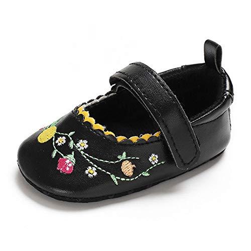 QINJLI babyschoenen, 0-1 jaar oude vrouwelijke babyschoenen, PU-borduurwerkbloemen zachte vloerbedekking van de prinses klittenbandverstelling 11-13 cm 12cm C