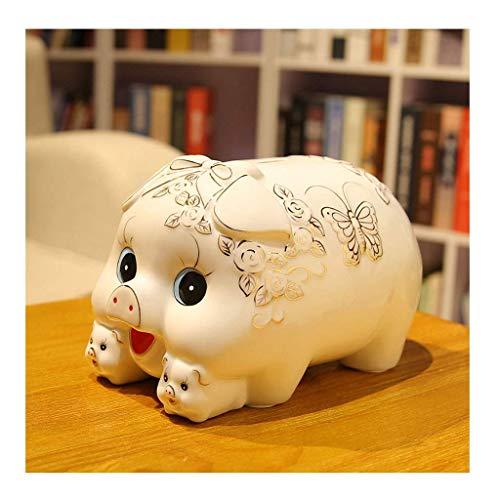 Piggy Bank Cerámica Cercucha Cercucha Capucha Gran Capacidad Moneda Caja Casual Caja de Cash Coin Jar Piggy Bank Lindo Adulto Niño Regalo Azul Blanco Blanco Bancos Dinero (Color : White)
